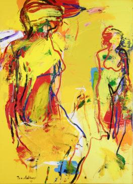 Jan van Lokhorst - deux femmes en jaune 110x80 cm